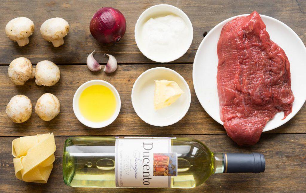 Бефстроганов из говядины с белым вином ингредиенты