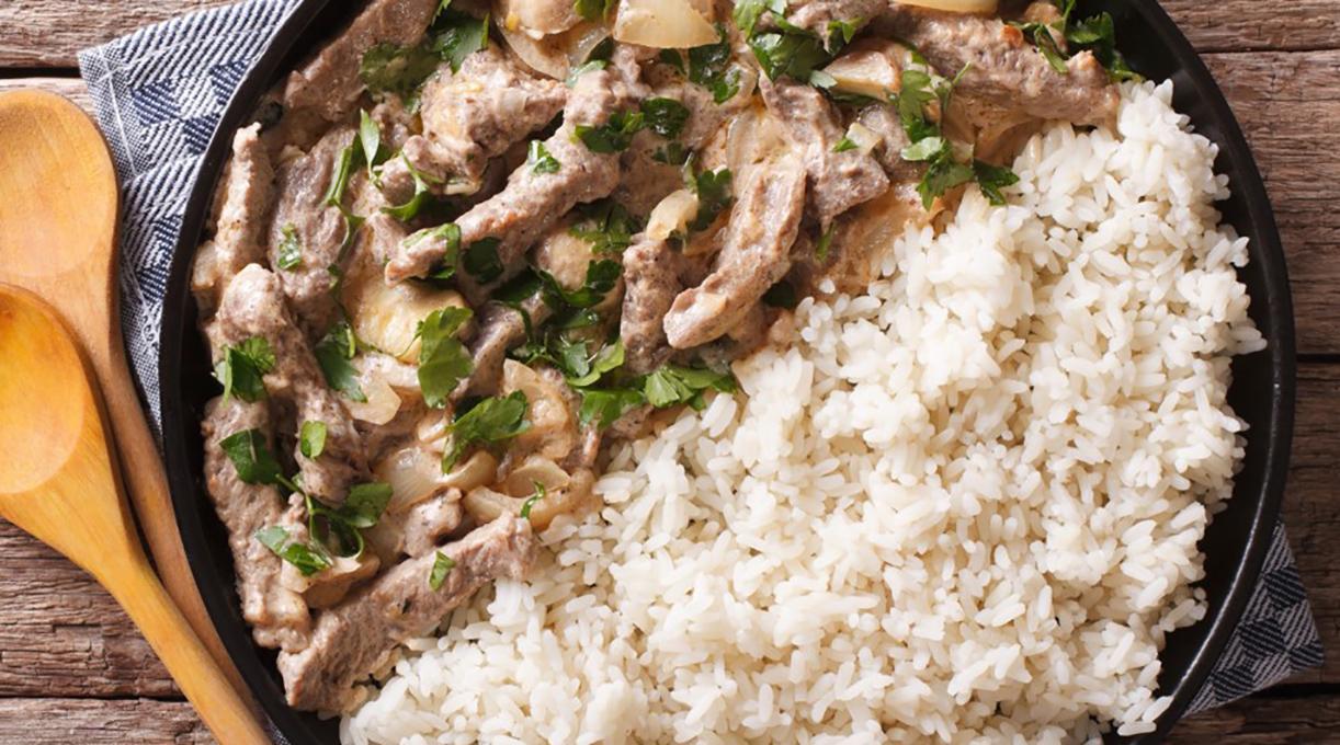 Бефстроганов из говядины с рисом
