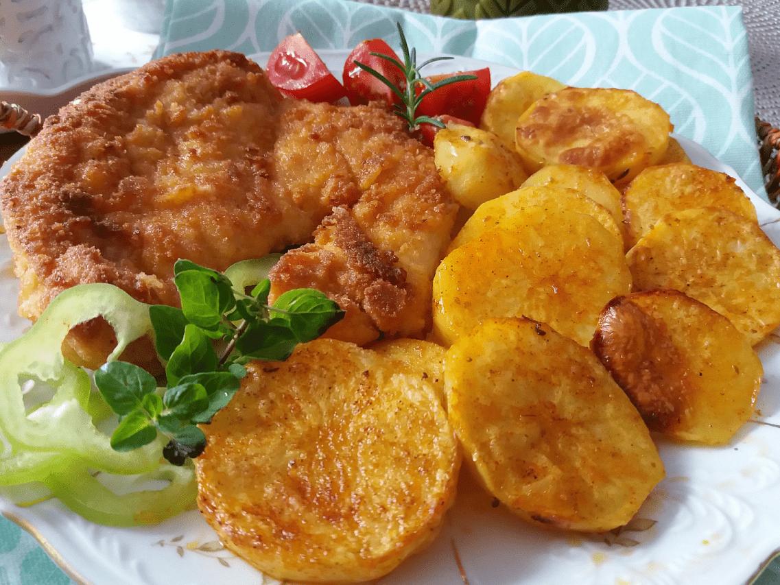 Как приготовить шницель из свинины в духовке с картошкой