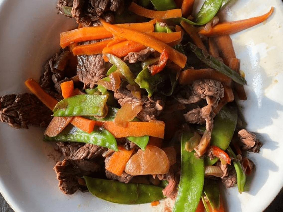 Мясо по-тайски с рисом