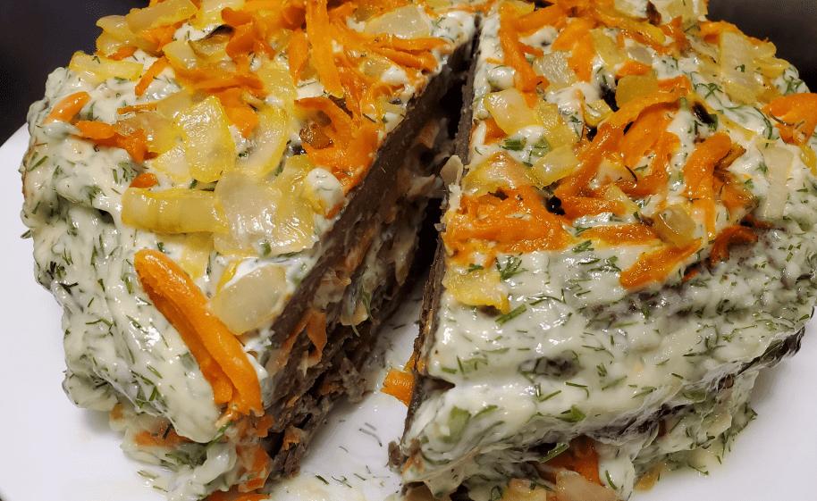 Печеночный торт на сковороде